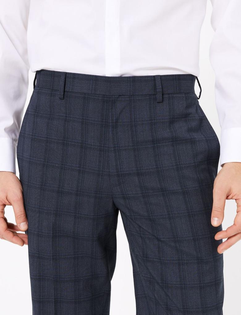 Lacivert Regular Fit Ekose Pantolon
