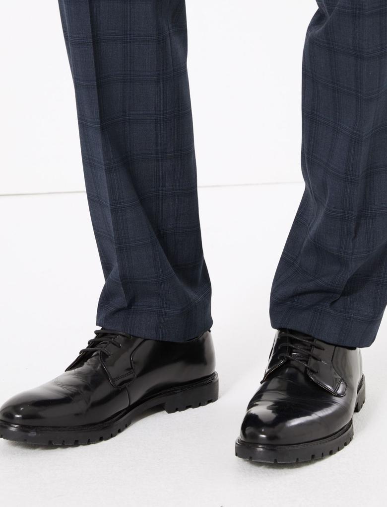 Erkek Lacivert Regular Fit Ekose Pantolon