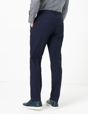 Erkek Lacivert Slim Fit Chino Pantolon