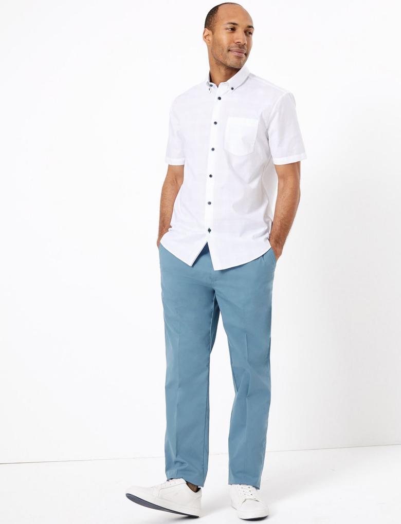Erkek Mavi Active Waist™ Pamuklu Chino Pantolon