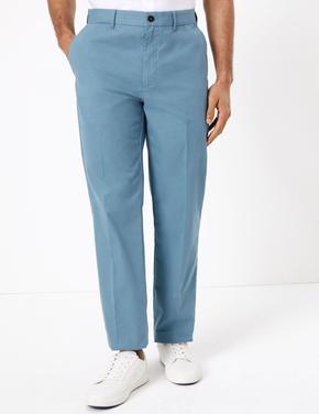 Erkek Mavi Pamuklu Chino Pantolon