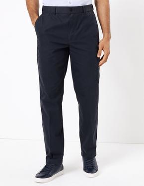 Erkek Lacivert Pamuklu Chino Pantolon