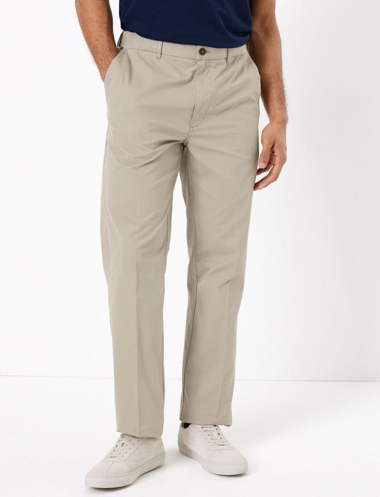 Erkek Krem Active Waist™ Pamuklu Chino Pantolon