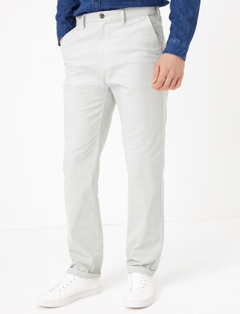 Erkek Gri Regular Fit Chino Pantolon