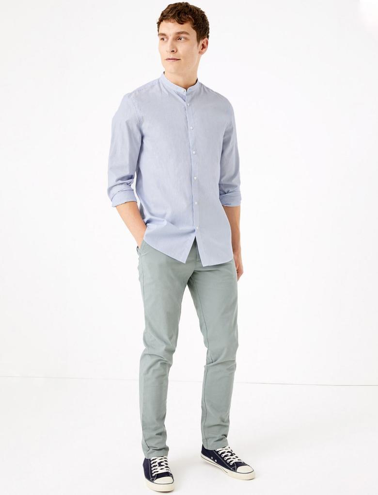 Erkek Mavi Saf Pamuklu Grandad Slim Fit Gömlek