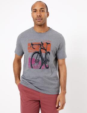 Gri Bisiklet Desenli Kısa Kollu T-Shirt