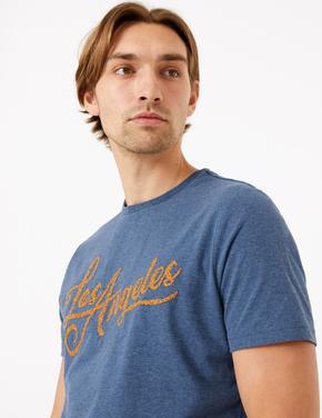 Mavi Saf Pamuklu Sloganlı T-Shirt