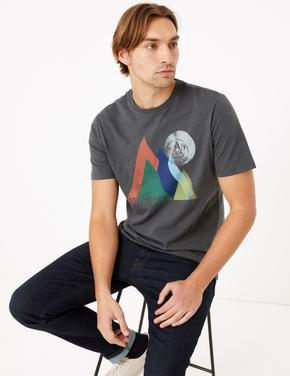Gri Saf Pamuklu Desenli T-Shirt