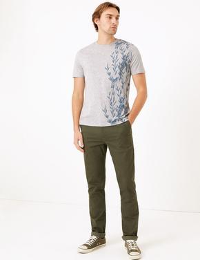 Gri Kısa Kollu Desenli T-Shirt