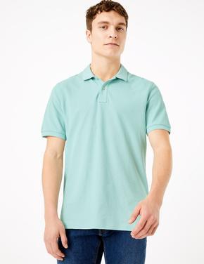 Erkek Yeşil Saf Pamuklu Polo Yaka T-Shirt