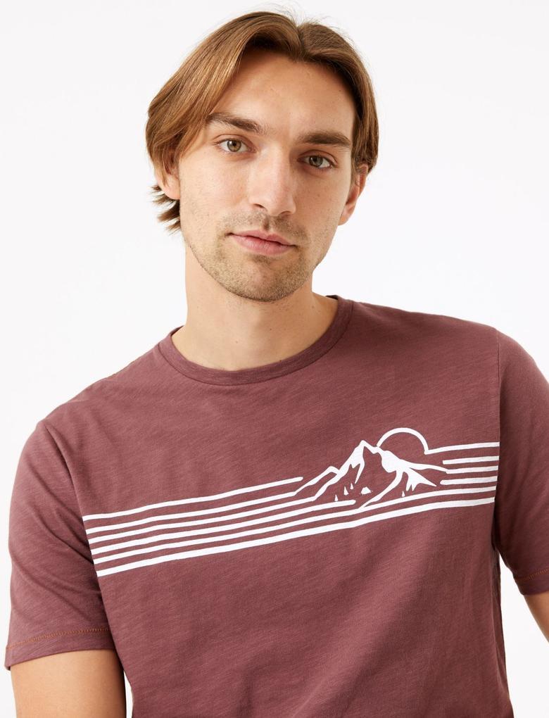 Bordo Saf Pamuklu Kısa Kollu T-Shirt