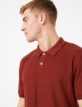 Erkek Turuncu Saf Pamuklu Polo Yaka T-Shirt