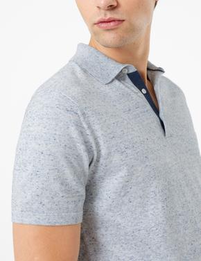Erkek Mavi Polo Yaka Kısa Kollu Triko T-Shirt