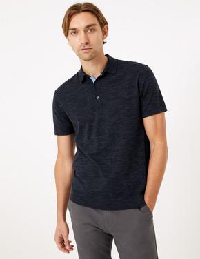 Erkek Lacivert Polo Yaka Kısa Kollu Triko T-Shirt