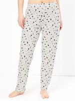 Kadın Bej Kalp Desenli Kısa Kollu Pijama Takımı
