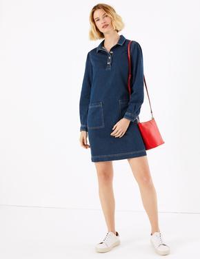 Kadın Mavi Düğme Detaylı Shift Elbise
