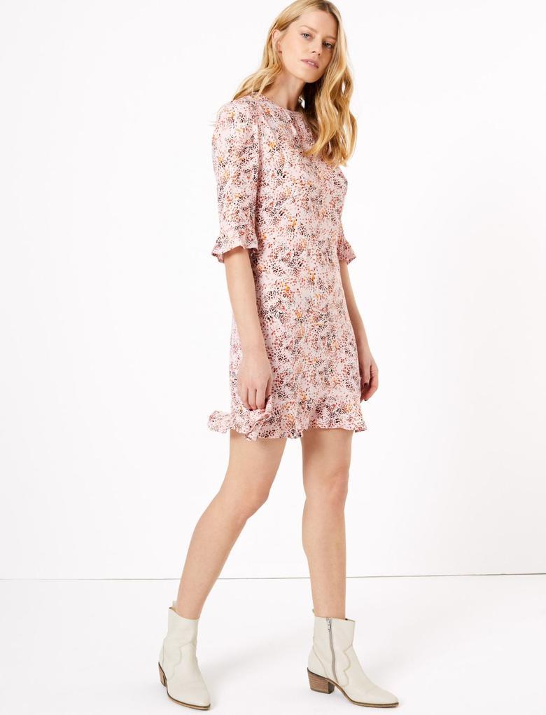Kadın Multi Renk Fit & Flare Desenli Mini Elbise