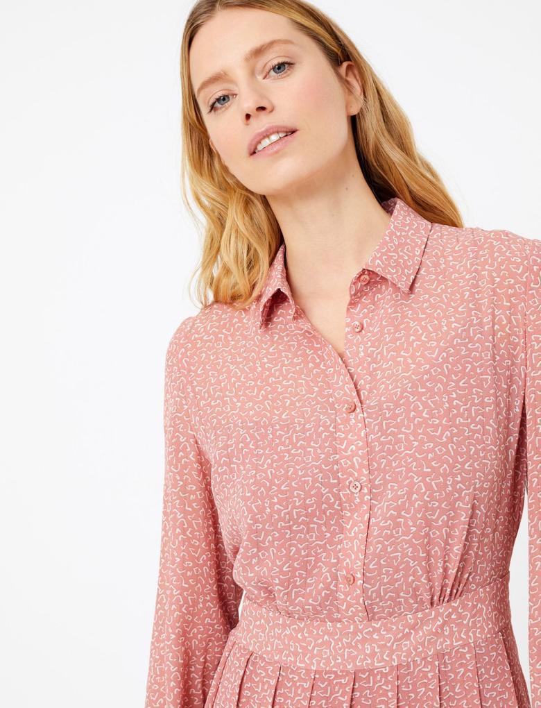 Kadın Pembe Desenli Midi Gömlek Elbise
