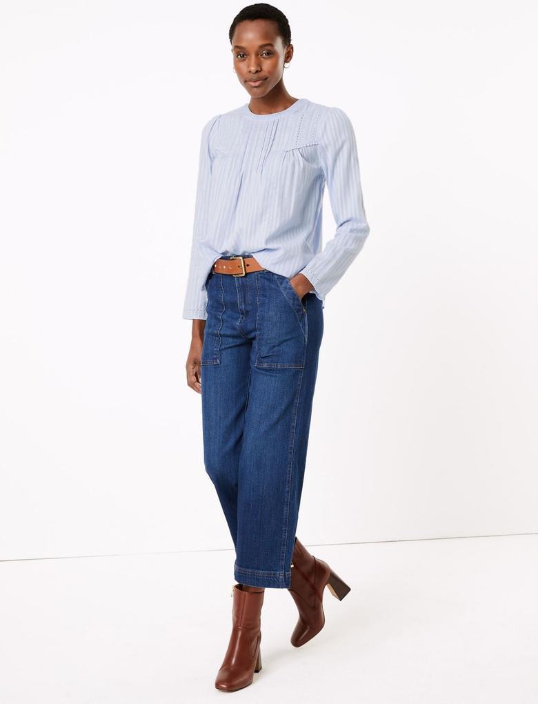 Kadın Mavi Çizgili Saf Pamuklu Bluz