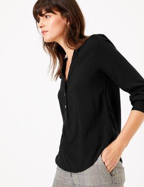 Kadın Siyah V Yaka Popover Bluz