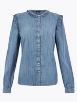Kadın Mavi Fırfırlı Uzun Kollu Bluz
