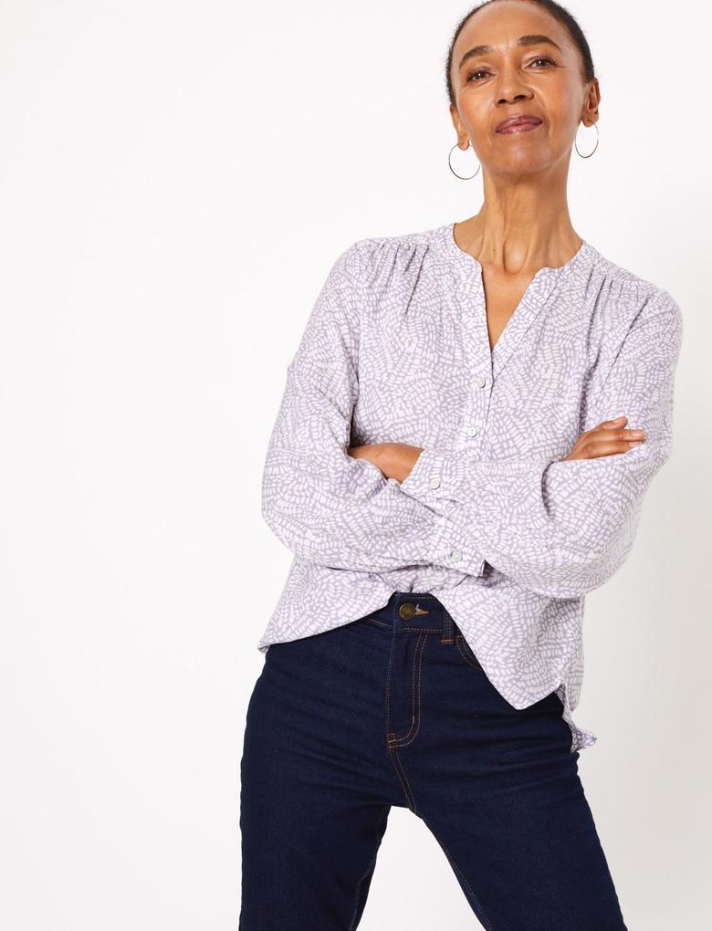 Kadın Mor Desenli Uzun Kollu Bluz