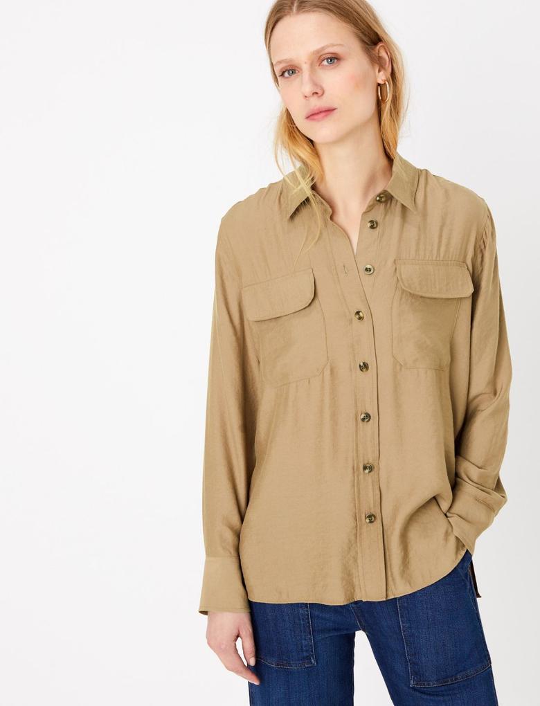 Kadın Kahverengi Düğme Detaylı Utility Gömlek