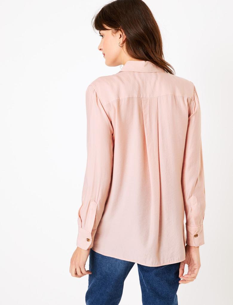 Kadın Pembe Düğme Detaylı Utility Gömlek