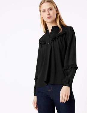 Kadın Siyah Fırfırlı Uzun Kollu Bluz