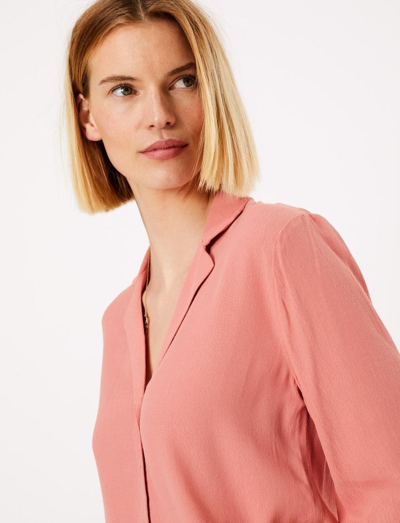 Kadın Pembe 3/4 Kollu Düğme Detaylı Gömlek