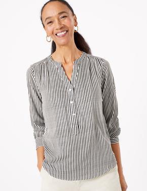 Kadın Krem Çizgili Popover Bluz