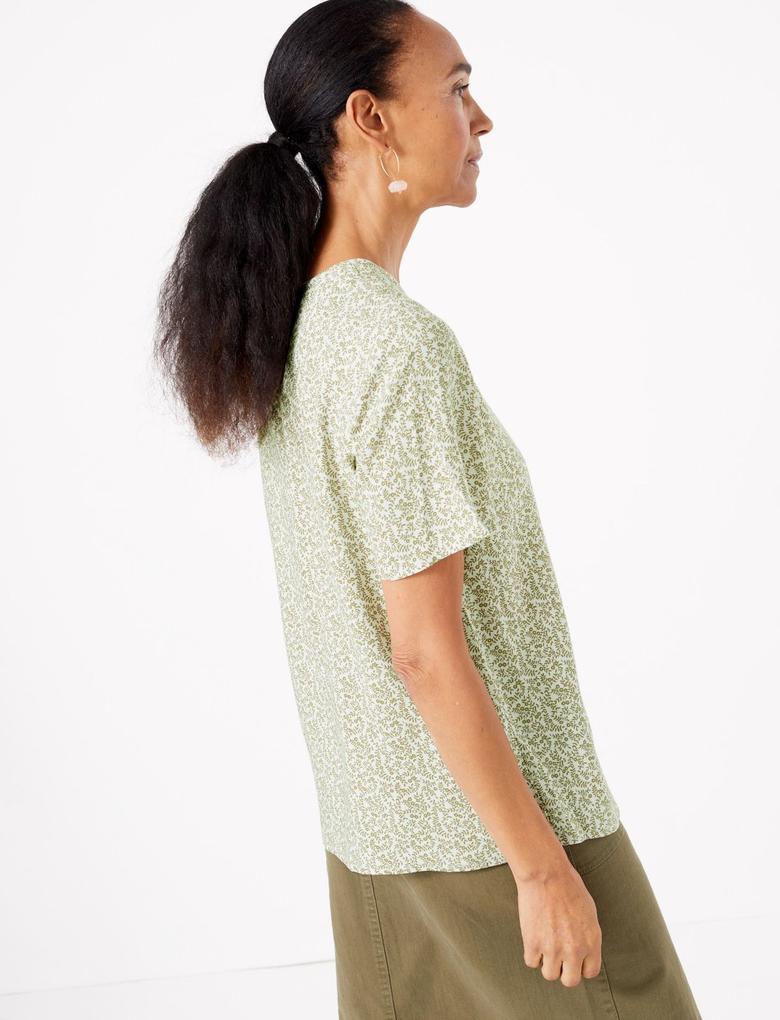 Kadın Yeşil Desenli Kısa Kollu Bluz