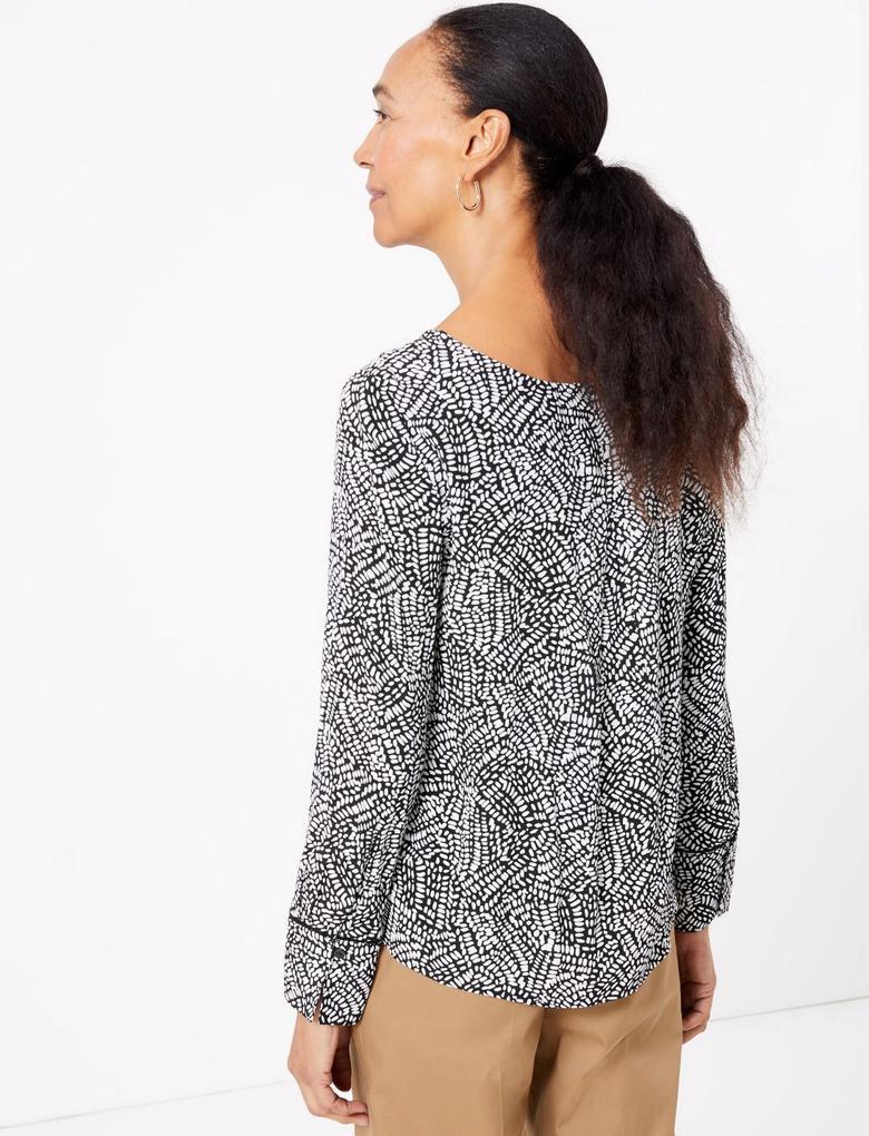 Kadın Siyah Desenli Uzun Kollu Bluz