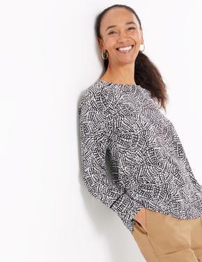 Siyah Desenli Uzun Kollu Bluz