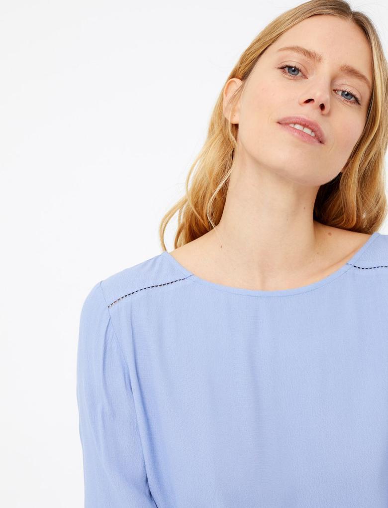 Kadın Mor Uzun Kollu Bluz