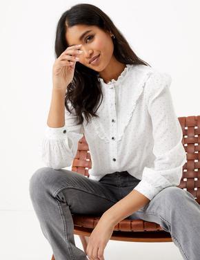 Kadın Beyaz Fırfır Detaylı Puantiyeli Bluz