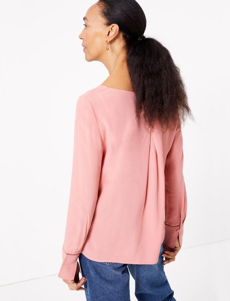 Kadın Pembe Uzun Kollu Bluz