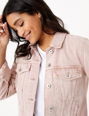Kadın Pembe Düğme Detaylı Denim Ceket
