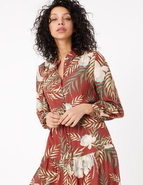 Kırmızı Tropikal Desenli Midi Gömlek Elbise