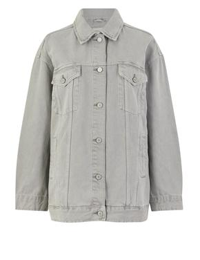 Gri Düğme Detaylı Denim Ceket