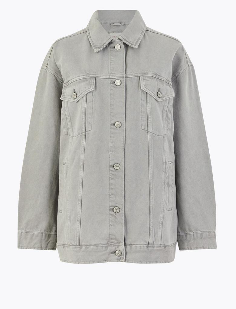 Kadın Gri Düğme Detaylı Denim Ceket