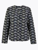 Lacivert Desenli Kısa Ceket