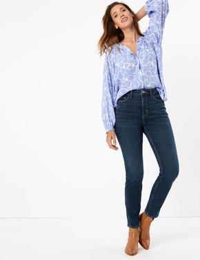Lacivert Şekillendirici Yüksek Belli Straight Jean Pantolon