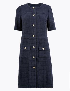 Lacivert Düğme Detaylı Tüvit Elbise
