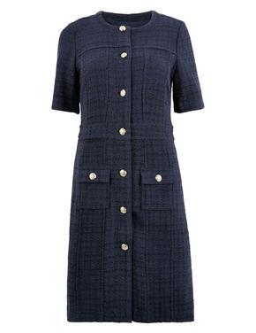 Kadın Lacivert Düğme Detaylı Tüvit Elbise