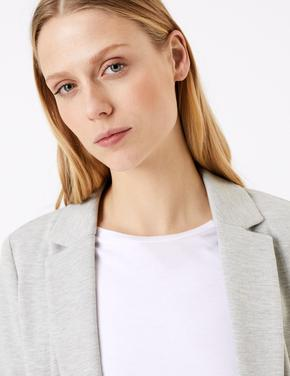 Gri Önü Açık Jarse Blazer Ceket