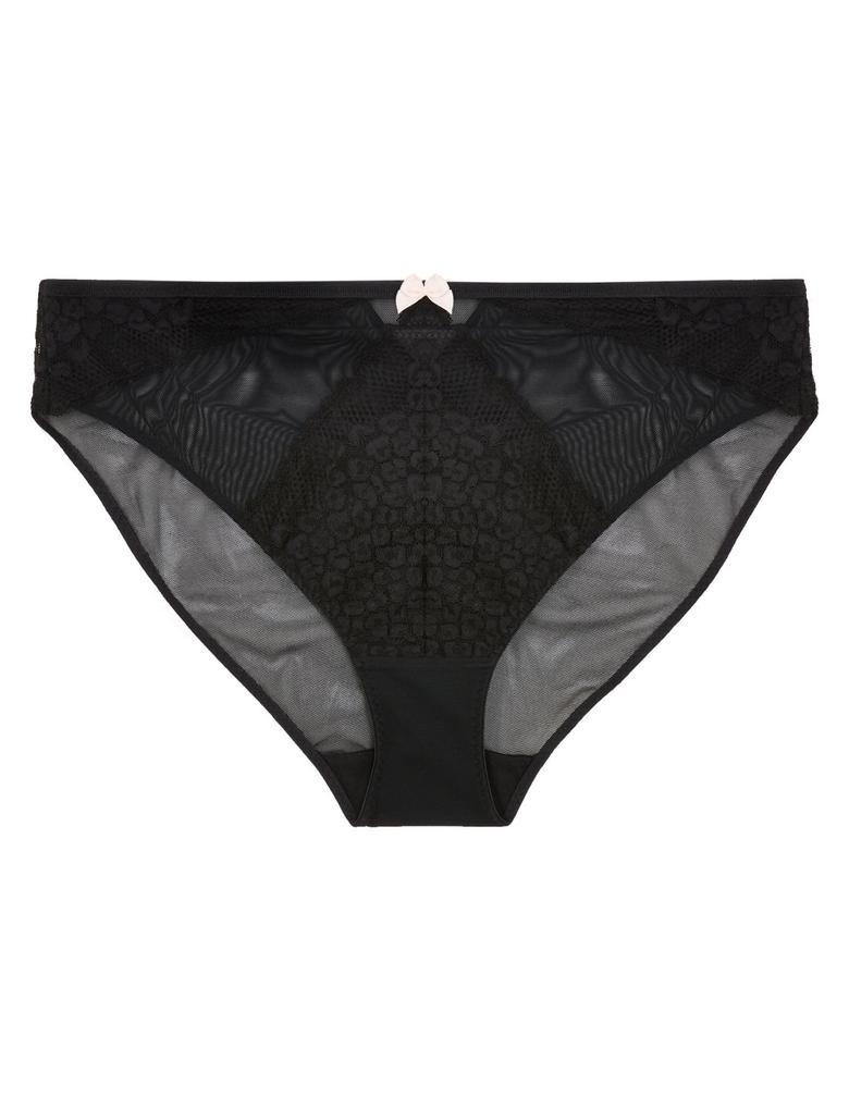 Kadın Siyah Leopar Desenli High Leg Külot