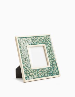 Ev Mavi Seramik Geometrik Desenli Fotoğraf Çerçevesi