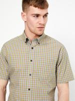Erkek Sarı Saf Pamuklu Ekose Gömlek
