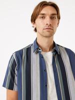 Erkek Multi Renk Çizgili Kısa Kollu Gömlek